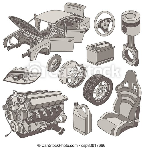Car parts icons isometric - csp33817666