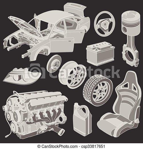 Car parts icons isometric - csp33817651