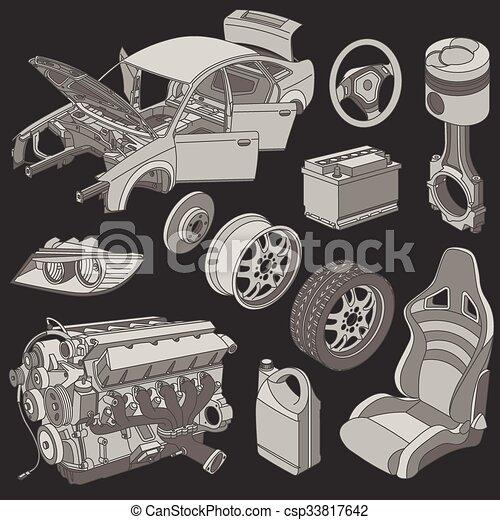 Car parts icons isometric - csp33817642