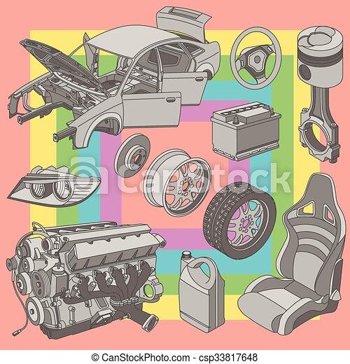 Car parts icons isometric - csp33817648