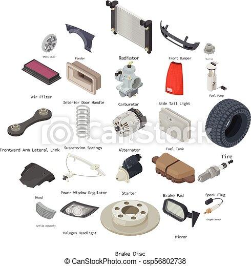 Car parts icons set, isometric style - csp56802738
