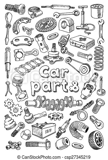Car parts in freehand drawing style with the title on the center of ...