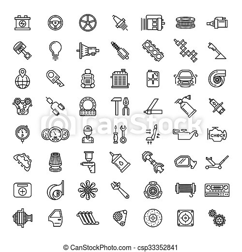 Car parts line icons set. auto service repair symbol, gear engine ...