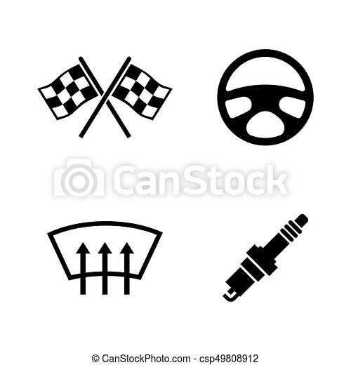 Car Parts Simple Related Vector Icons Car Parts Simple Related