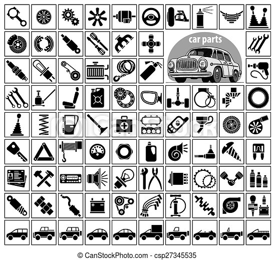 Car parts, tools and accessories. eighty four icons and one image of ...