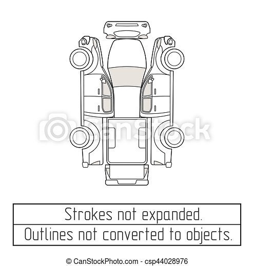 car pickup truck drawing outlines not converted to objects - csp44028976