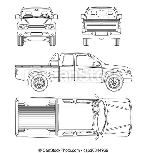 car pickup truck extra cab vector illustration - csp36344969