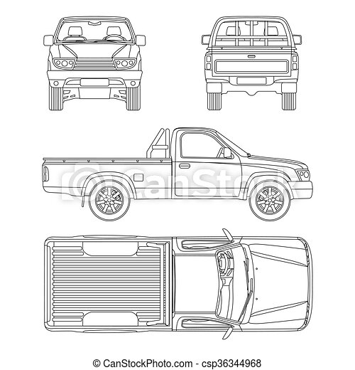 car pickup truck one cab vector illustration - csp36344968