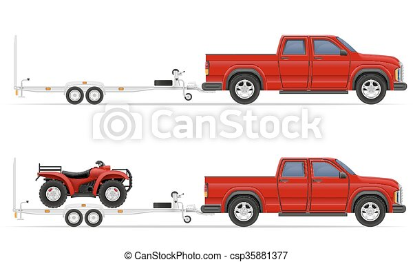 car pickup with trailer vector illustration - csp35881377