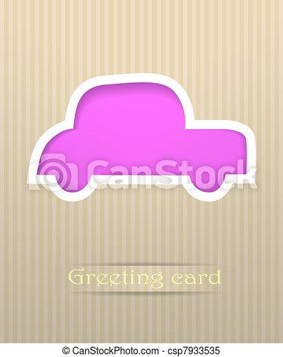 Car postcard vector illustration - csp7933535