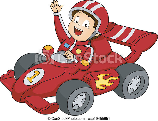 car racing boy illustration of a little boy happily waving from his