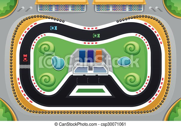 Car Racing Game Viewed from Above - csp30071061