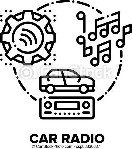 Car Radio Device Vector Concept Black Illustration - csp88330837