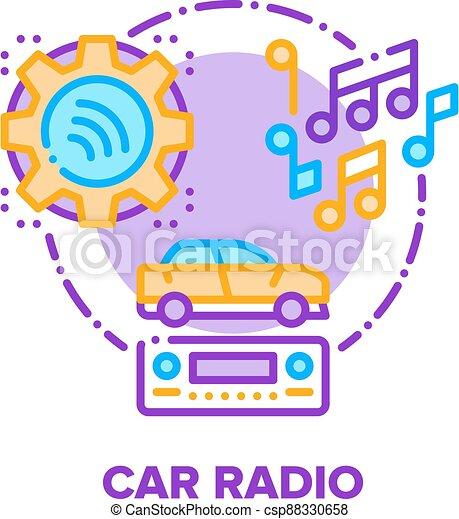 Car Radio Device Vector Concept Color Illustration - csp88330658