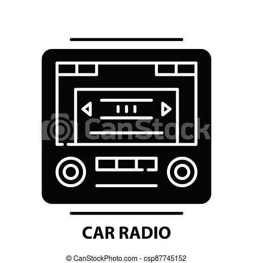 car radio icon, black vector sign with editable strokes, concept illustration - csp87745152