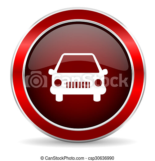 car red circle glossy web icon, round button with metallic border - csp30636990