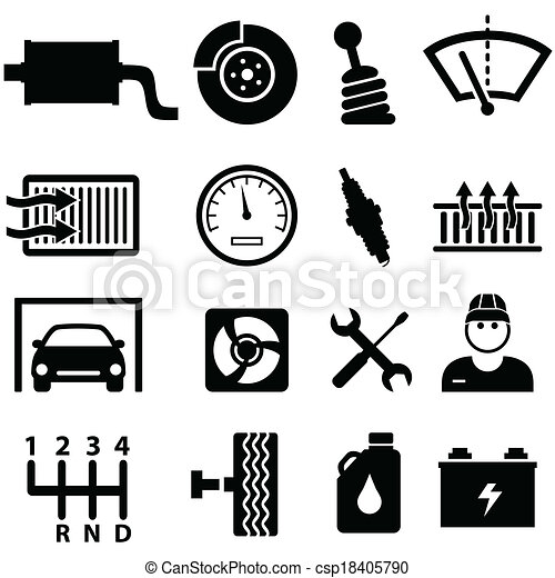 Car repair and mechanic icons - csp18405790
