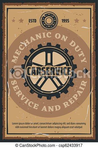 Car repair and mechanic service retro poster - csp62433917