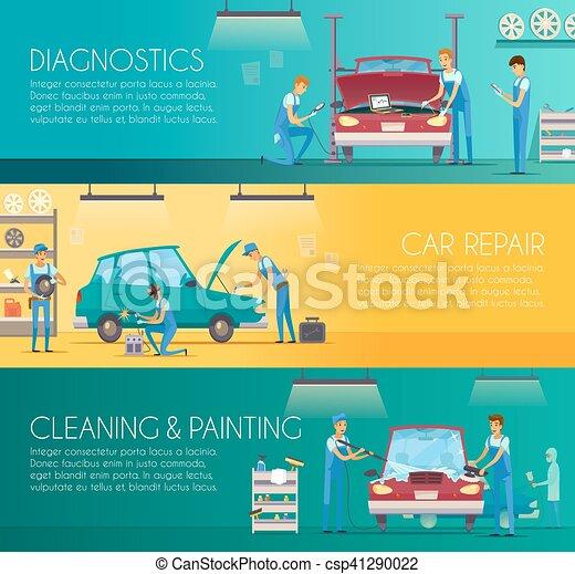 Car Repair Center Retro Cartoon Banners - csp41290022