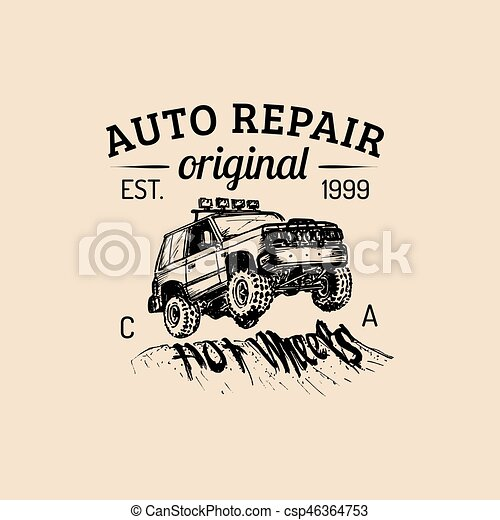 Car repair logo with SUV illustration. Vector vintage hand drawn garage,auto service ad poster etc. Off-road car sketch. - csp46364753