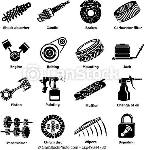 Car Repair Parts Icons Set Simple Style Car Repair Parts Icons Set
