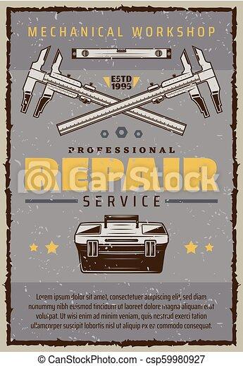 Car repair service poster with mechanic toolbox - csp59980927