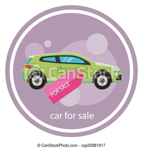 Car Sale Design Template With Modern Car And Tag. Concept In