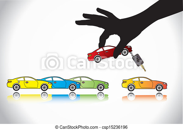 Car Sale & Key Concept Choose & Buy - csp15236196