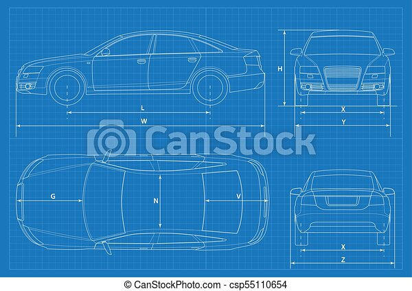 Car schematic or car blueprint vector illustration sedan car in car schematic or car blueprint vector illustration sedan car in outline business sedan vehicle template vector view front rear side top malvernweather Choice Image