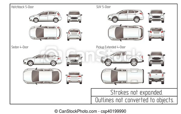car sedan and suv drawing outlines not converted to objects - csp40199990