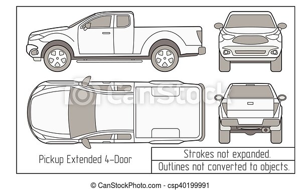 car sedan and suv drawing outlines not converted to objects - csp40199991