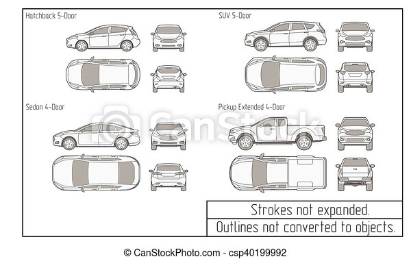 car sedan and suv drawing outlines not converted to objects - csp40199992