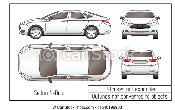 car sedan and suv drawing outlines not converted to objects - csp40199983