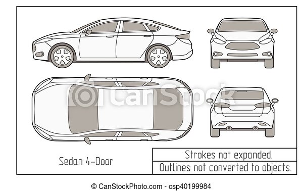 car sedan and suv drawing outlines not converted to objects - csp40199984