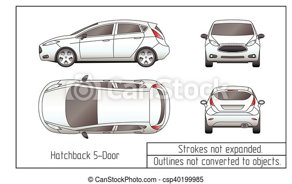 car sedan and suv drawing outlines not converted to objects - csp40199985
