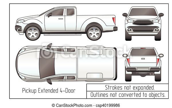 car sedan and suv drawing outlines not converted to objects - csp40199986