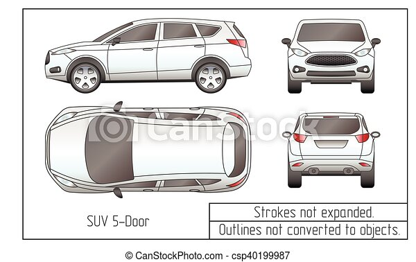 car sedan and suv drawing outlines not converted to objects - csp40199987