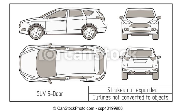 car sedan and suv drawing outlines not converted to objects - csp40199988