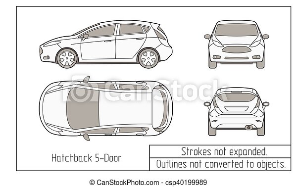 car sedan and suv drawing outlines not converted to objects - csp40199989