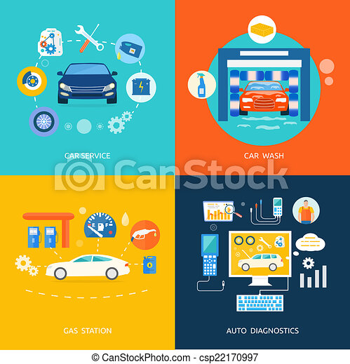 Car service car wash gas station auto diagnostics - csp22170997