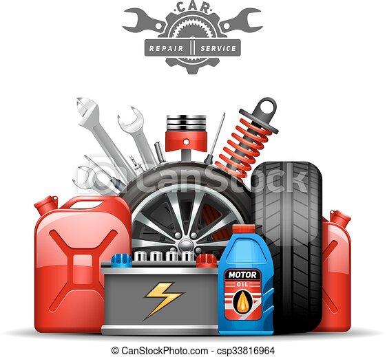 Car Service Composition Ad  Flat Illustration - csp33816964