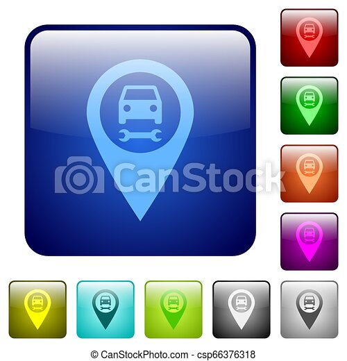 Car service GPS map location color square buttons - csp66376318