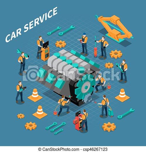 Car Service Isometric Composition - csp46267123