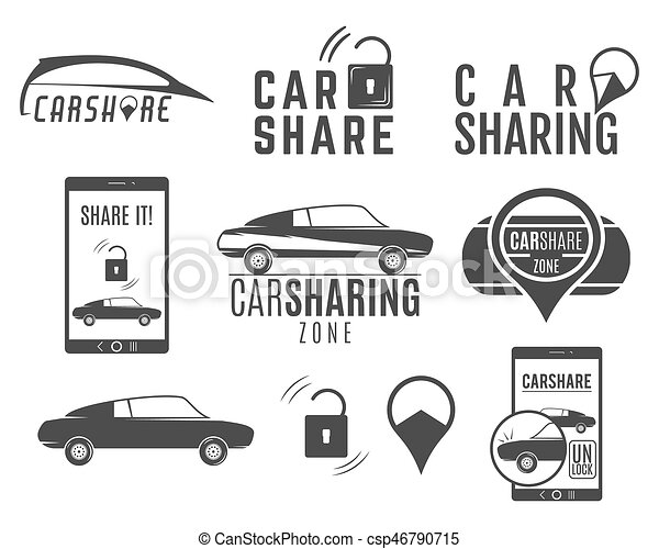 Car Share Logo Designs Set Car Sharing Concepts Collective Usage Of Cars Via Web Application Carsharing Icons Elements And Symbols Collection Use
