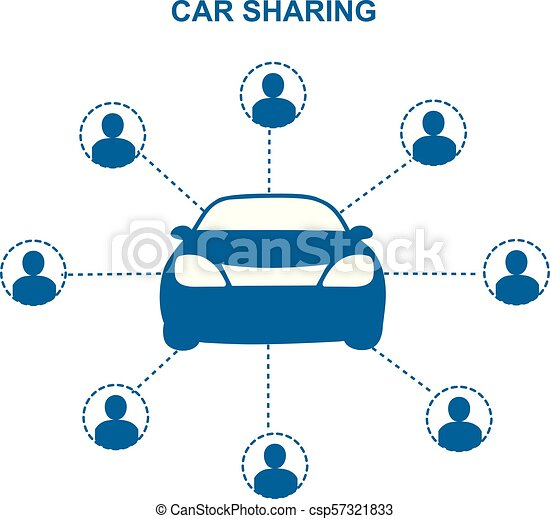 Car Sharing Concept Social Travel Concept Car Share With Group Of