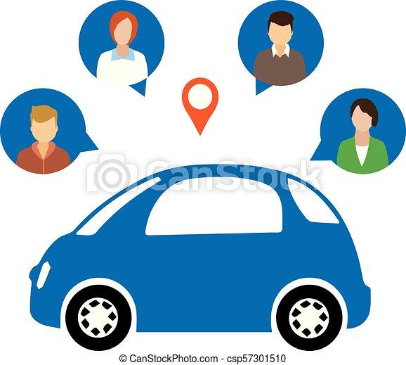 Car Sharing Concept Social Travel Concept