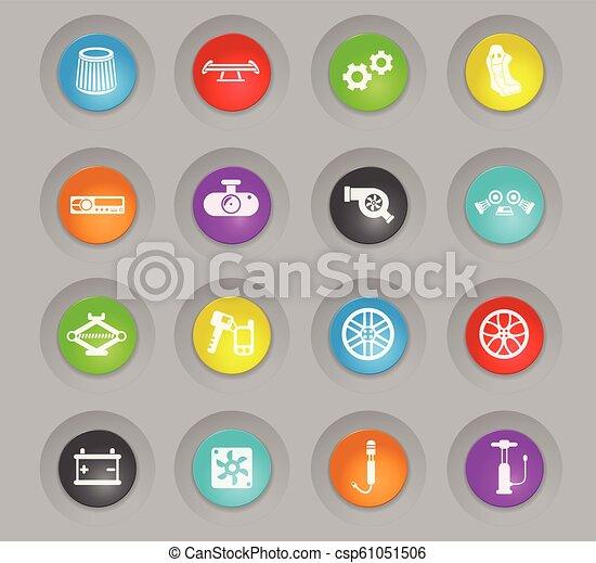 car shop colored plastic round buttons icon set - csp61051506