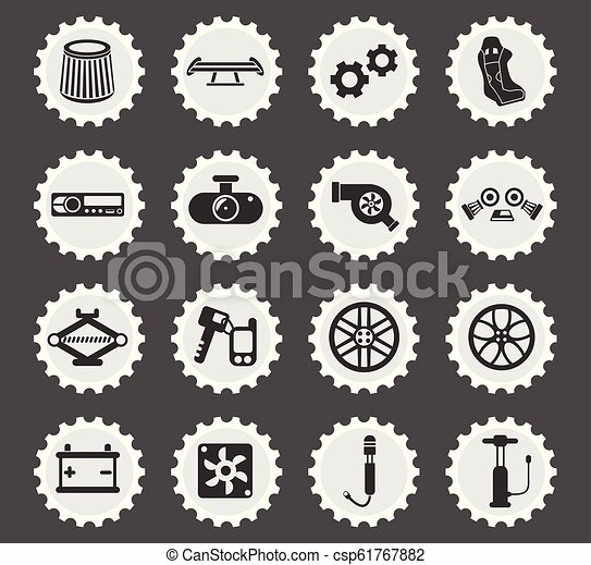 Car Shop Icon Set Car Shop Web Icons Stylized Postage Stamp For