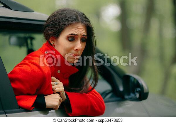car sick woman having motion sickness symptoms suffering girl in a