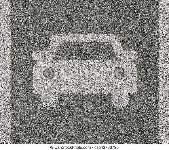 Car sign on asphalt - csp43768795